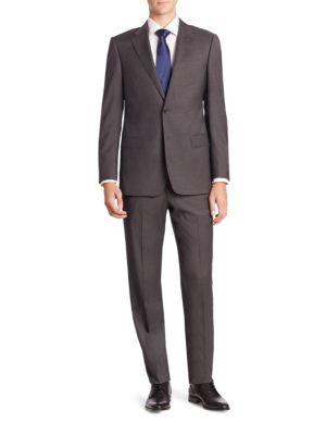 Armani Collezioni  Plaid Two-Button Virgin Wool Suit
