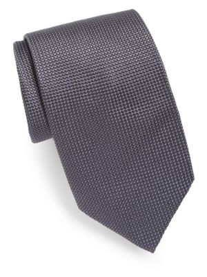 Pin Dot Silk Tie, Grey Navy
