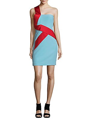 One-Shoulder Banner Sheath Dress