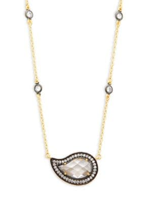 Freida Rothman  Paisley Radiance Crystal & Sterling Silver Pendant Necklace
