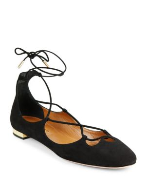 10Mm Christy Lace-Up Suede Flats in Black