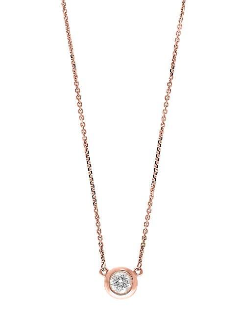 EFFY | Pave Diamond and 14K Rose Gold Bezel Pendant Necklace | Goxip