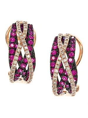 Ruby, Diamond and 14K Rose Gold Earrings