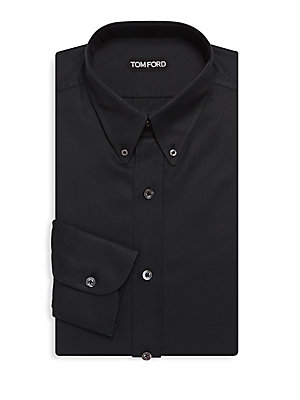 Cotton Point-Collar Dress Shirt