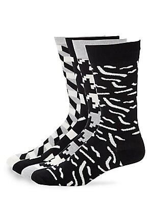 Geometric Print Crew Socks Set