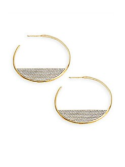 Nadri - Sterling Silver & Crystal Hoop Earrings