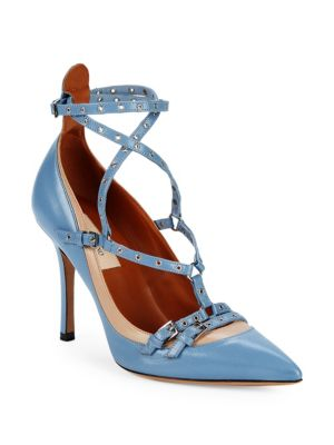 VALENTINO Strappy Grommet Leather Pumps