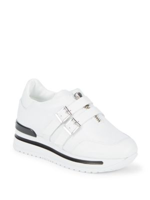 JOHN GALLIANO Double Buckle Leather Sneakers in White