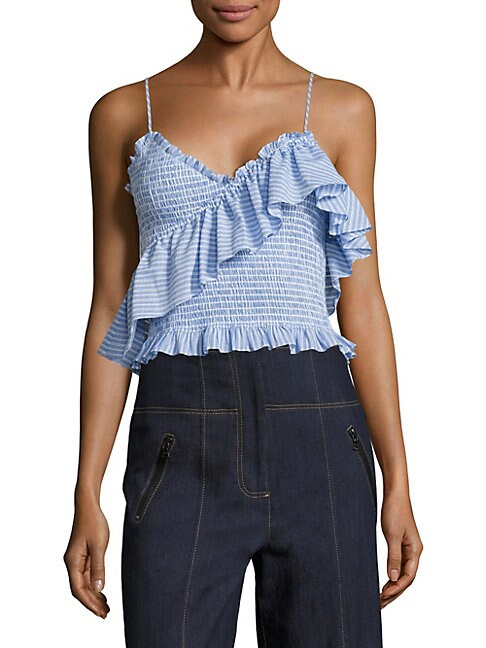 Mara Smocked Cotton Poplin Cropped Top