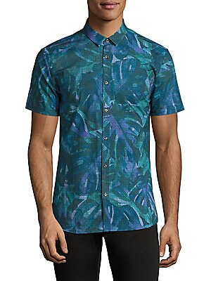Palm-Print Grid Shirt