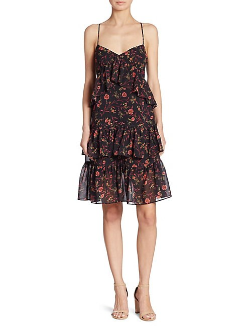 Scripted FLORAL-PRINT RUFFLED TIERED DRESS
