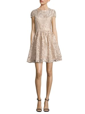 Alice + Olivia Gracia Lace A-Line Dress, Beige