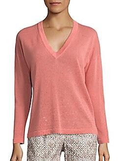 Peserico - Embellished Linen-Blend Sweater
