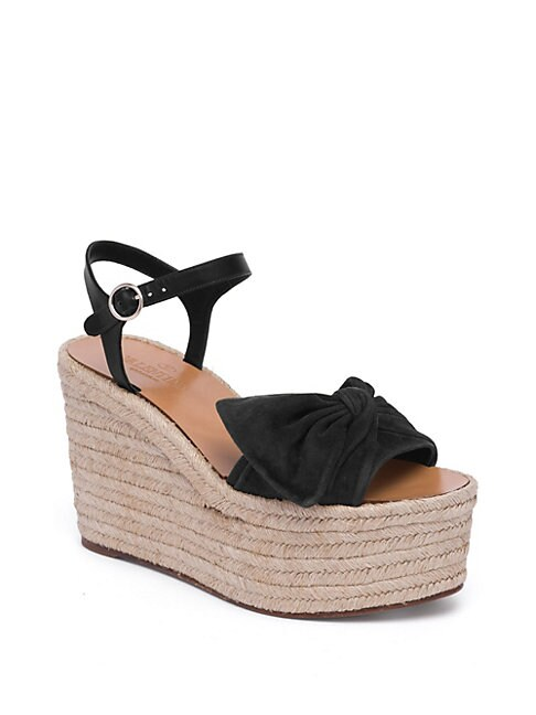 Tropical Bow Suede Espadrille Wedge Platform Sandals