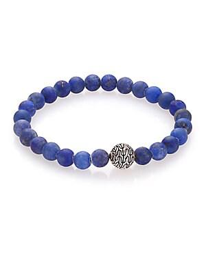 Batu Classic Chain Lapis & Sterling Silver Bead Bracelet
