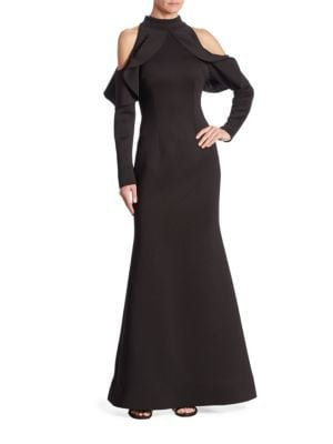 NERO BY JATIN VARMA Ruffle Cold-Shoulder Gown in Black