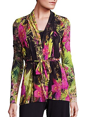 Tropical Floral-Print Belted Cardigan