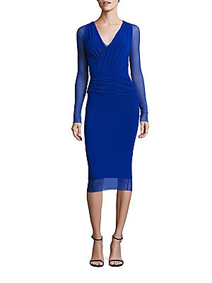 Fuzzi LONG SLEEVE BUST RUCHED BODYCON DRESS