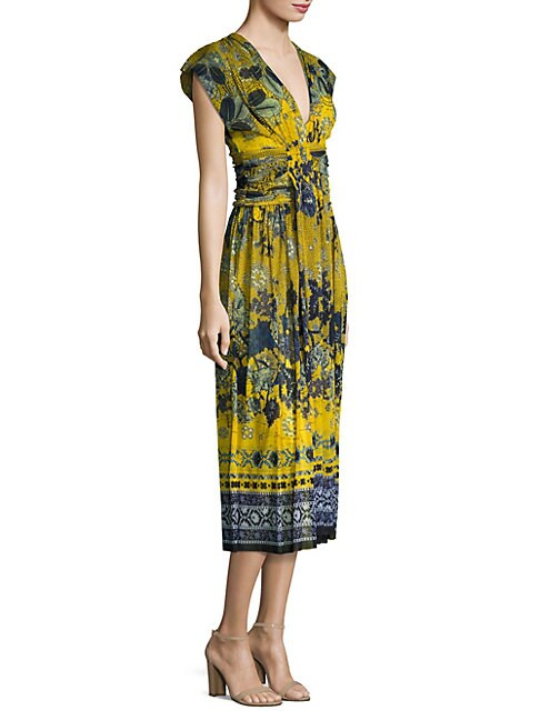 Batik Floral Print Midi Dress