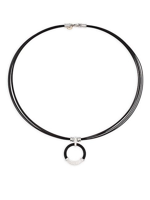 ALOR   18K White Gold, Sterling Silver Diamond Circle Pendant Necklace   Goxip