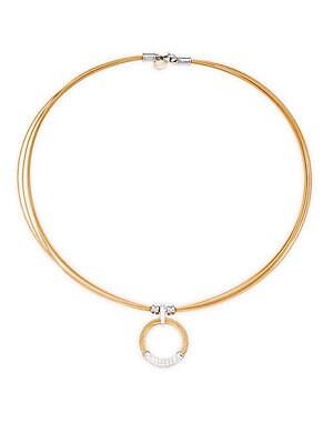 Alor  18K WHITE GOLD & STERLING SILVER DIAMOND CIRCLE PENDANT NECKLACE