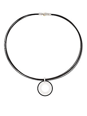 Alor  18K WHITE GOLD, STERLING SILVER PAVE DIAMOND CIRCLE PENDANT NECKLACE