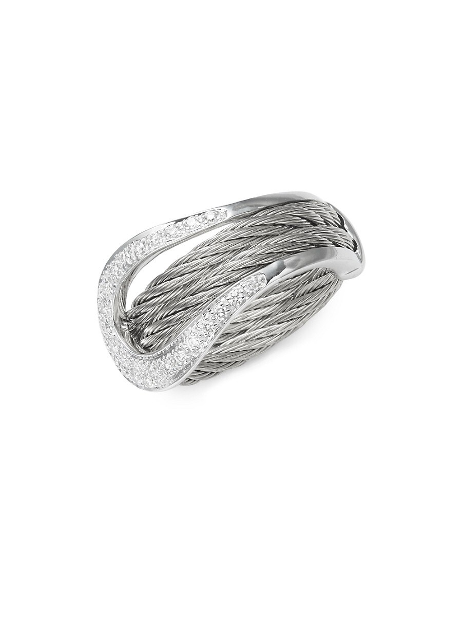 Women's 18K White Gold & Sterling Silver Diamond Statement Ring/Size 7