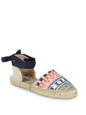 MANEBI Valenciana Woven Lace-Up Espadrilles in Red Blue