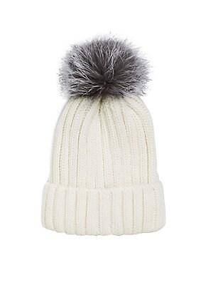 Pom Pom Knit Fox Fur Beanie by Annabelle New York