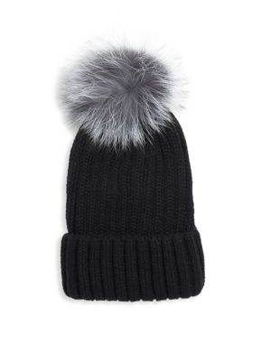 ANNABELLE NEW YORK Pom-Pom Knit Fox Fur Beanie in Black