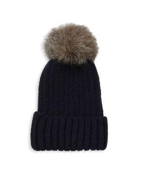 ANNABELLE NEW YORK Pom-Pom Knit Fox Fur Beanie in Navy