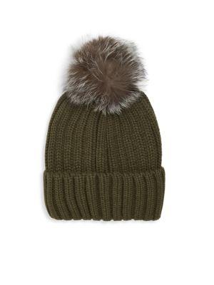 ANNABELLE NEW YORK Pom-Pom Knit Fox Fur Beanie in Olive