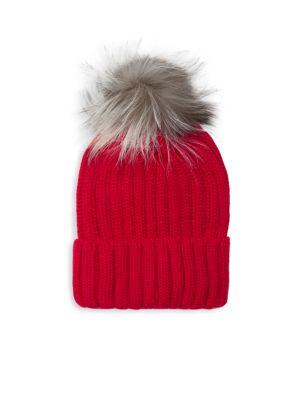 ANNABELLE NEW YORK Pom-Pom Knit Fox Fur Beanie in Red