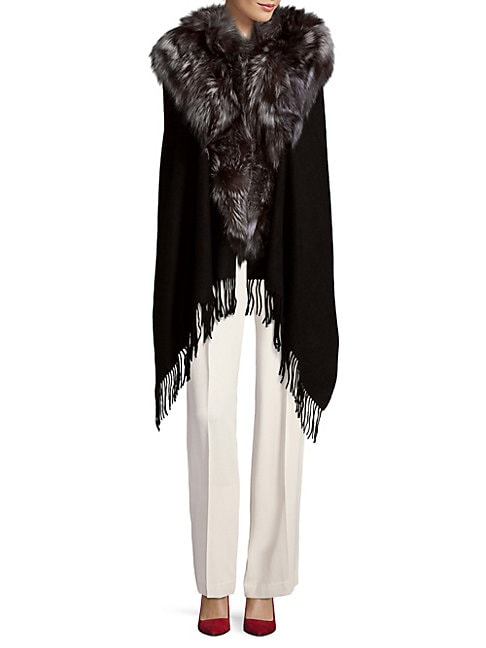ANNABELLE NEW YORK | Textured Wool Cape with Dyed Fox Fur | Goxip