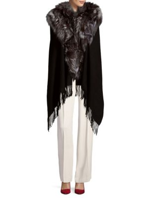 ANNABELLE NEW YORK Textured Wool Cape With Dyed Fox Fur in Black Silver