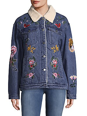 Faux Shearling Embroidered Denim Jacket