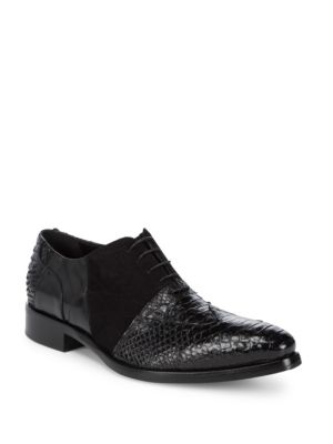 JO GHOST Lace-Up Embossed Leather Oxfords in Black