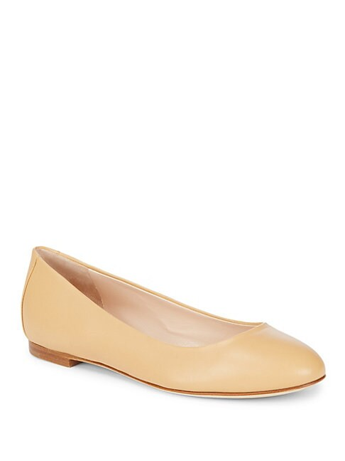 SERGIO ROSSI | Round Toe Leather Ballet Flats | Goxip