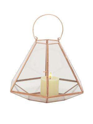 UMA Modern Hexagonal Candle Lantern in Copper Gold