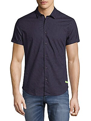 Cotton Short-Sleeve Button-Down Shirt