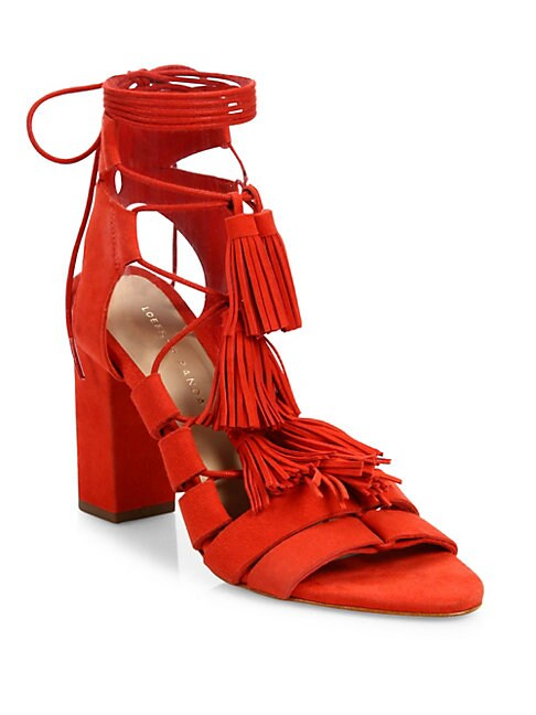 Luz Tassel Suede Ankle-Tie Block Heel Sandals