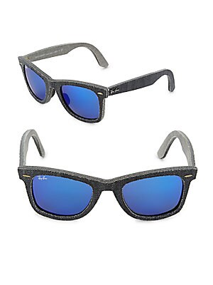 52MM Denim Wayfarer Sunglasses