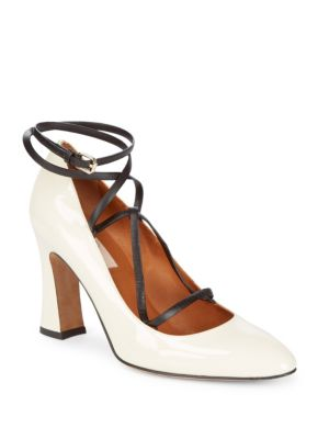Pantent Leather Ankle Strap Pump in White