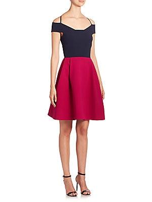 Natan Cold Shoulder Colorblock Dress