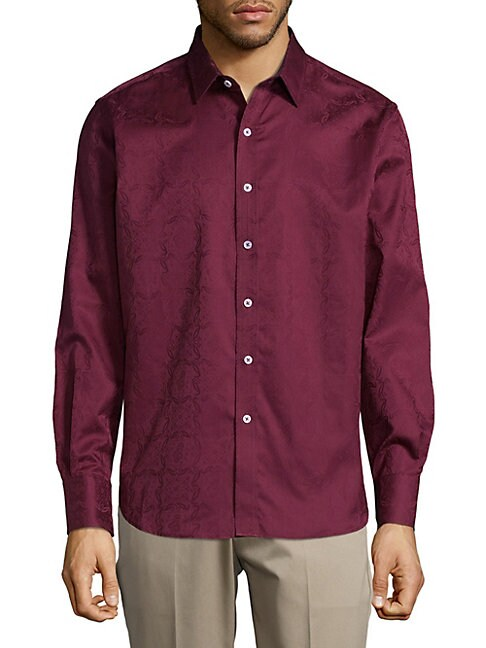 Cotton Pattern Button-Down Shirt