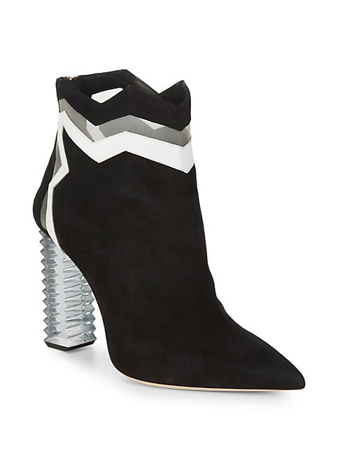 APERLAI | Jagged Suede Ankle Boots | Goxip