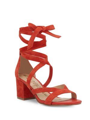 620eff32664 Sam Edelman Sheri Suede Block Heel Sandals In Red