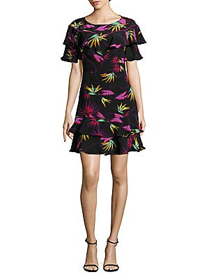 Jungle Leaf Ruffle Dress