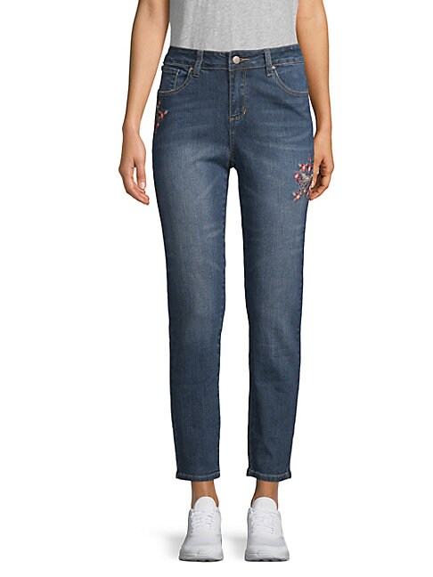 Sadie Embroidered Cropped Jeans