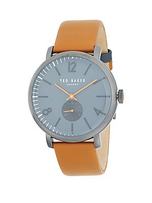 Ted Baker  POLISHED STAINLESS STEEL LEATHER STRAP WATCH